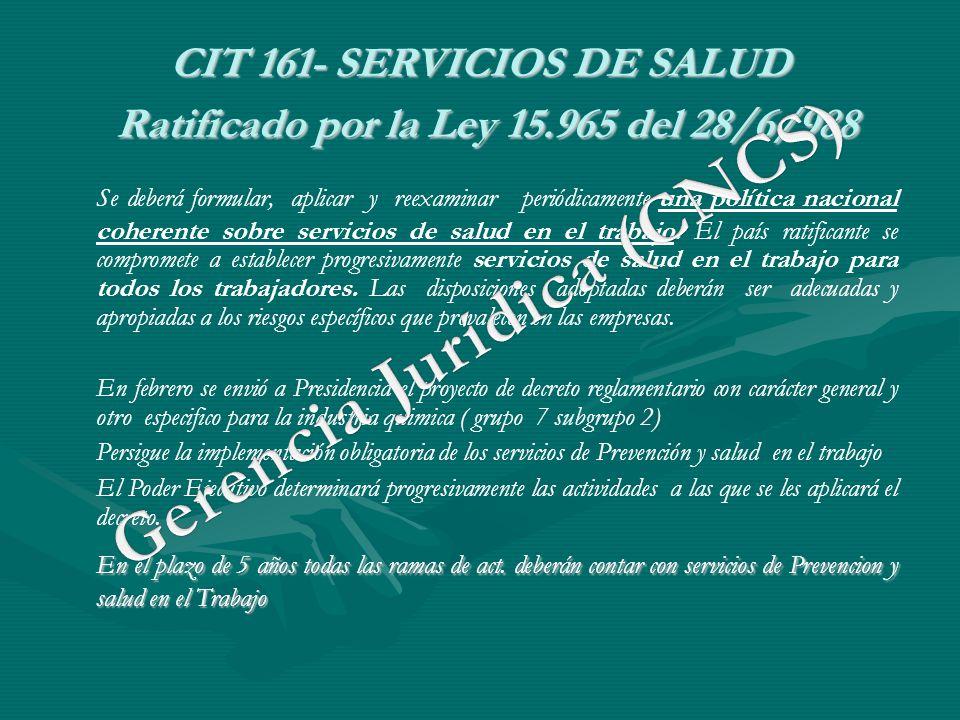 CIT 161- SERVICIOS DE SALUD Ratificado por la Ley 15.965 del 28/6/988 Se deberá formular, aplicar y reexaminar periódicamente una política nacional co