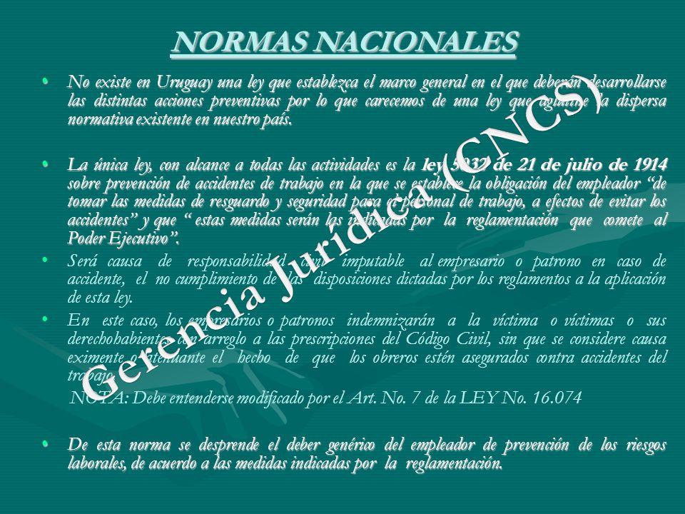 NORMAS NACIONALES No existe en Uruguay una ley que establezca el marco general en el que deberán desarrollarse las distintas acciones preventivas por
