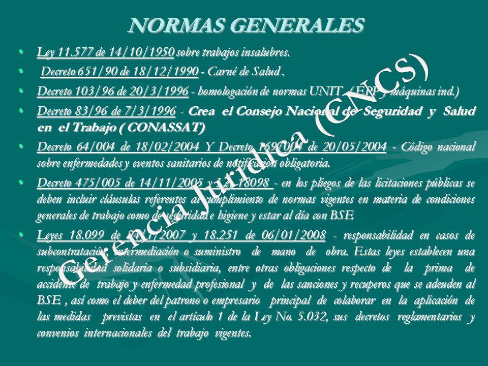 NORMAS GENERALES Ley 11.577 de 14/10/1950 sobre trabajos insalubres.Ley 11.577 de 14/10/1950 sobre trabajos insalubres. Decreto 651/90 de 18/12/1990 -