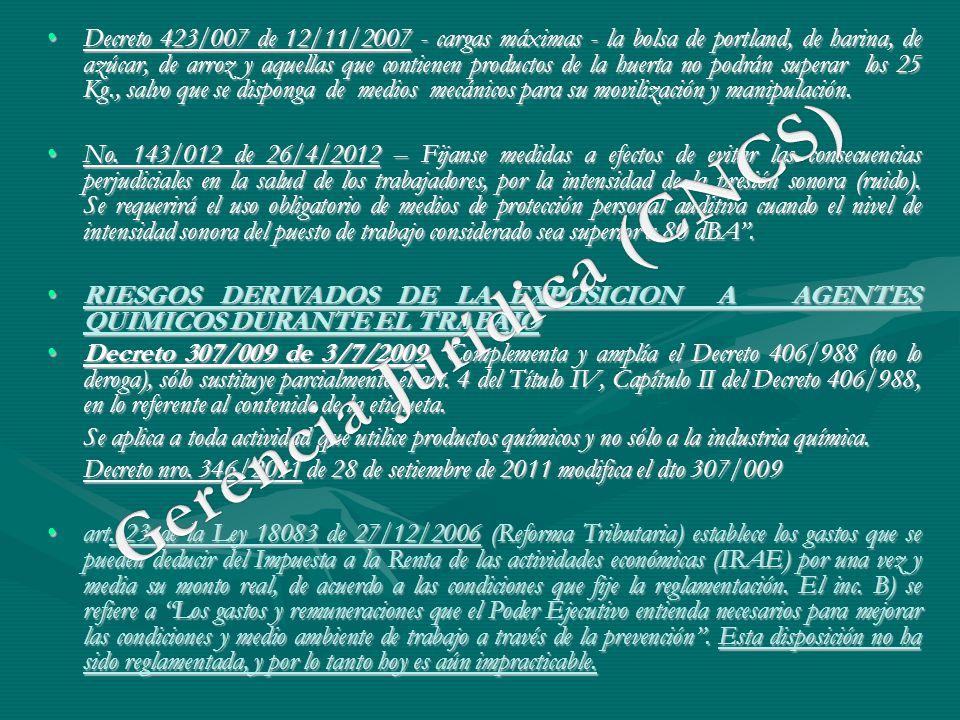 Decreto 423/007 de 12/11/2007 - cargas máximas - la bolsa de portland, de harina, de azúcar, de arroz y aquellas que contienen productos de la huerta