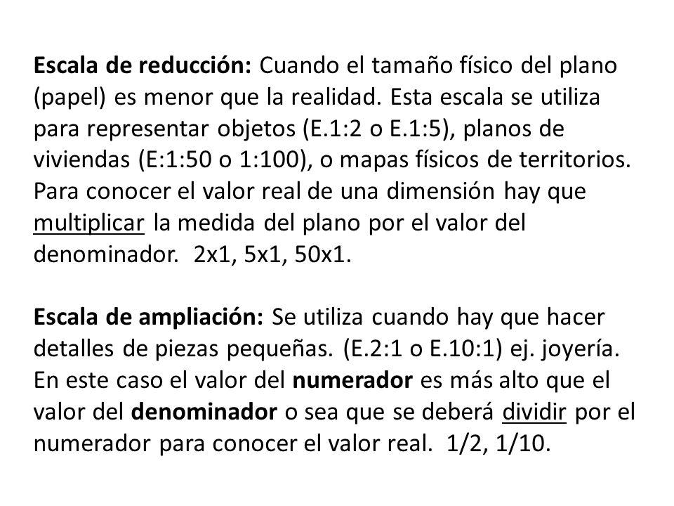Escala de reducción: Cuando el tamaño físico del plano (papel) es menor que la realidad.