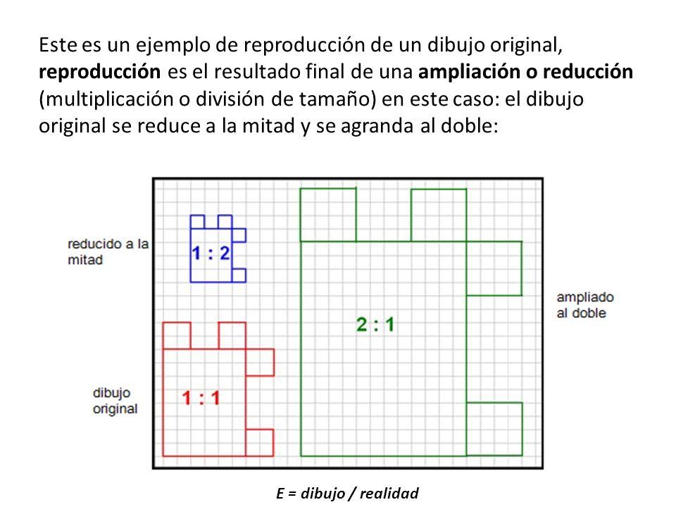 Este es un ejemplo de reproducción de un dibujo original, reproducción es el resultado final de una ampliación o reducción (multiplicación o división de tamaño) en este caso: el dibujo original se reduce a la mitad y se agranda al doble: E = dibujo / realidad