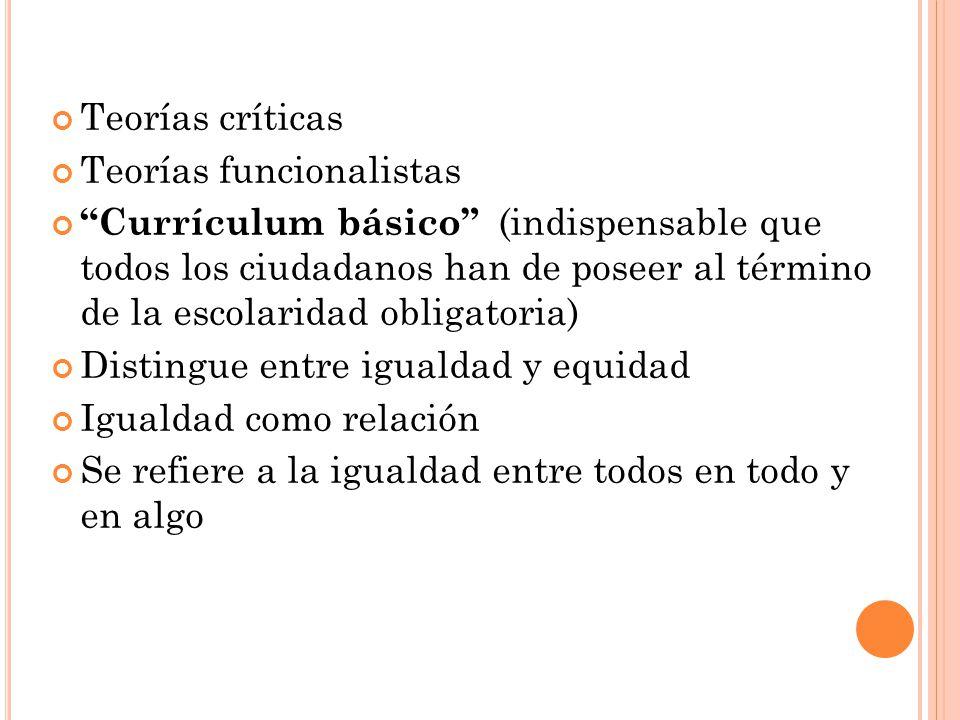 Teorías críticas Teorías funcionalistas Currículum básico (indispensable que todos los ciudadanos han de poseer al término de la escolaridad obligator