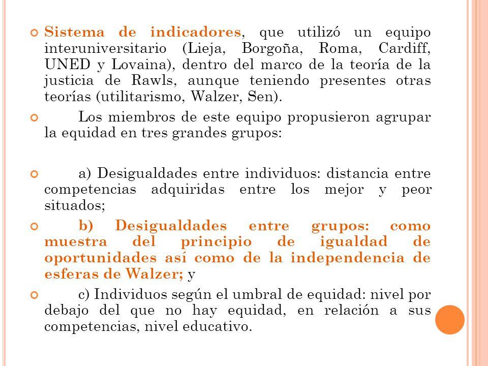 Sistema de indicadores, que utilizó un equipo interuniversitario (Lieja, Borgoña, Roma, Cardiff, UNED y Lovaina), dentro del marco de la teoría de la