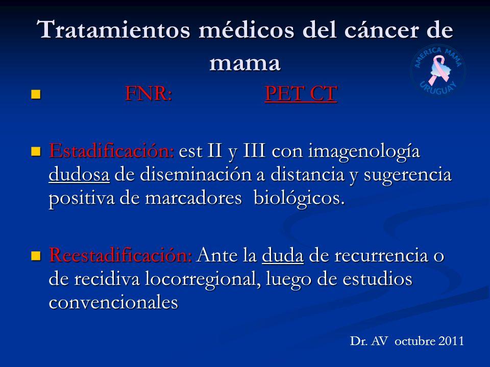 Tratamientos médicos del cáncer de mama FNR: PET CT FNR: PET CT Estadificación: est II y III con imagenología dudosa de diseminación a distancia y sug