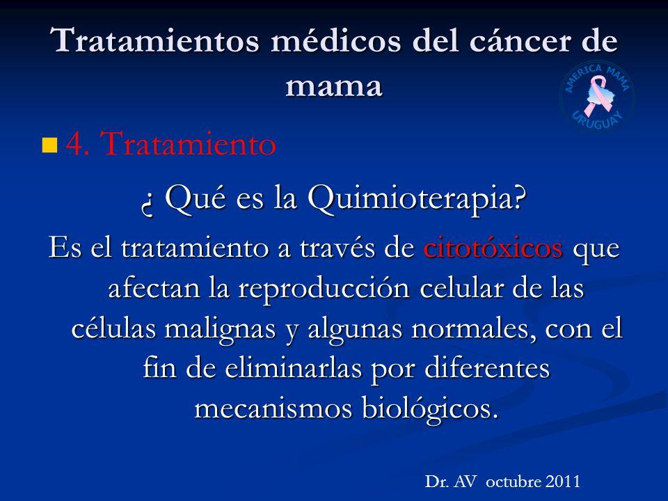 Tratamientos médicos del cáncer de mama 4. Tratamiento ¿ Qué es la Quimioterapia? Es el tratamiento a través de citotóxicos que afectan la reproducció