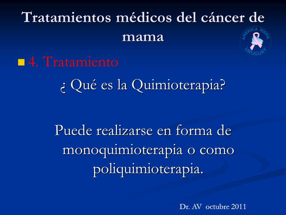 Tratamientos médicos del cáncer de mama 4. Tratamiento ¿ Qué es la Quimioterapia? Puede realizarse en forma de monoquimioterapia o como poliquimiotera