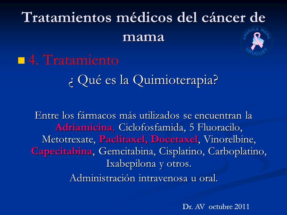 Tratamientos médicos del cáncer de mama 4. Tratamiento ¿ Qué es la Quimioterapia? Entre los fármacos más utilizados se encuentran la Adriamicina, Cicl