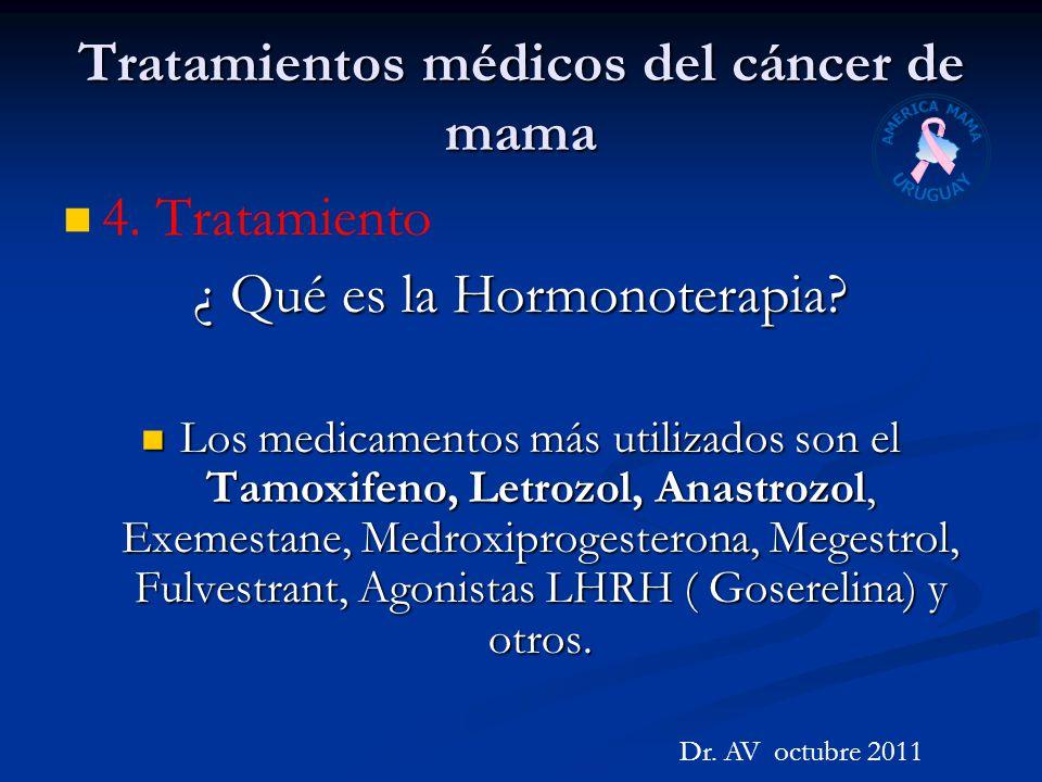 Tratamientos médicos del cáncer de mama 4. Tratamiento ¿ Qué es la Hormonoterapia? Los medicamentos más utilizados son el Tamoxifeno, Letrozol, Anastr