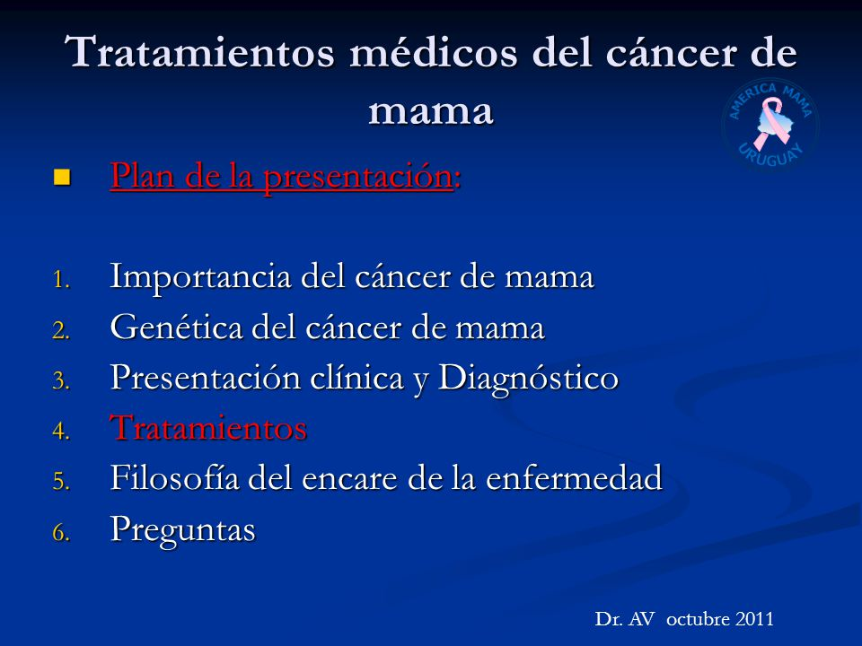 Tratamientos médicos del cáncer de mama Plan de la presentación: Plan de la presentación: 1. Importancia del cáncer de mama 2. Genética del cáncer de