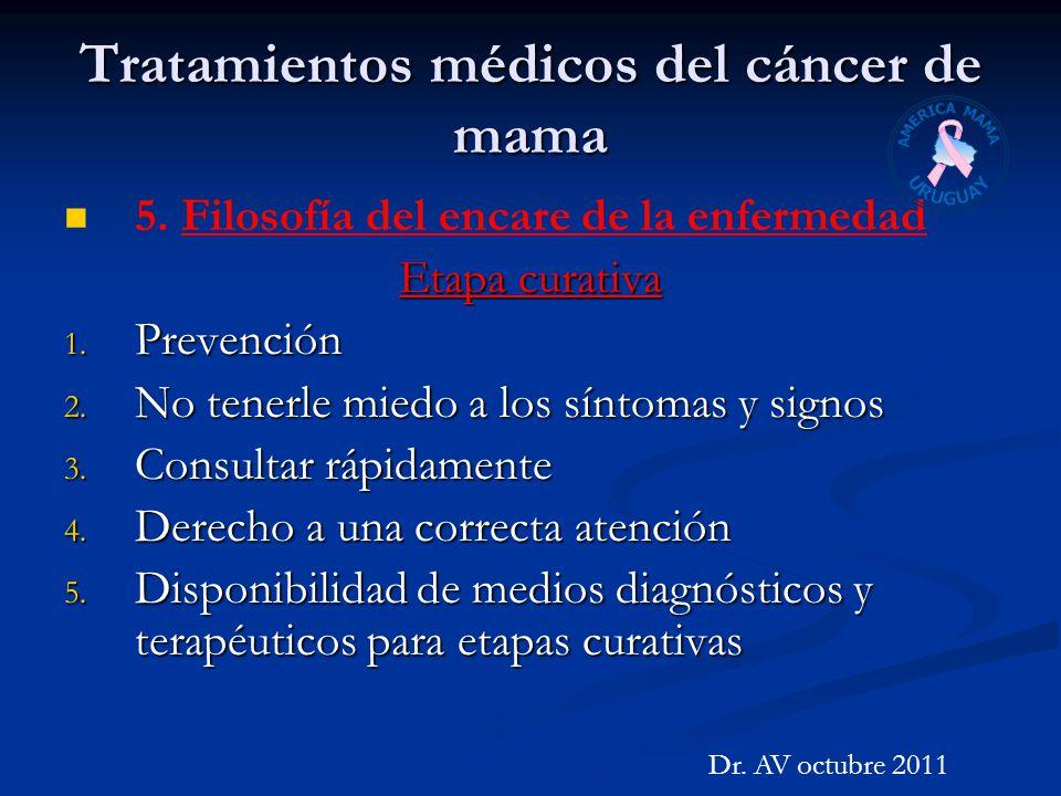 Tratamientos médicos del cáncer de mama 5. Filosofía del encare de la enfermedad Etapa curativa 1. Prevención 2. No tenerle miedo a los síntomas y sig