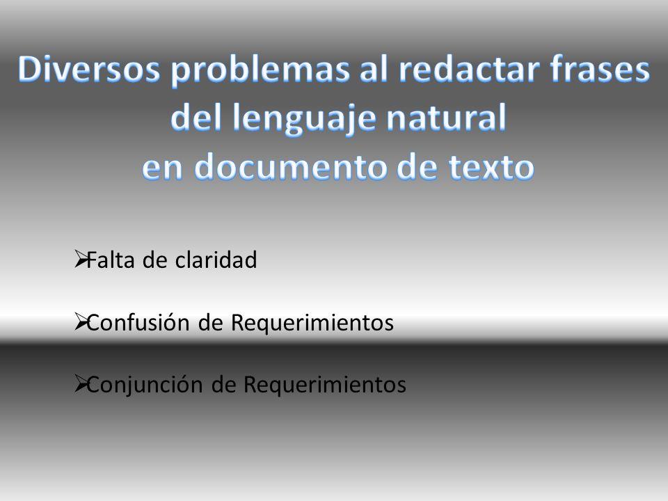 Falta de claridad Confusión de Requerimientos Conjunción de Requerimientos