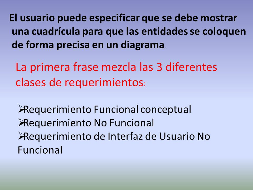 El usuario puede especificar que se debe mostrar una cuadrícula para que las entidades se coloquen de forma precisa en un diagrama. La primera frase m