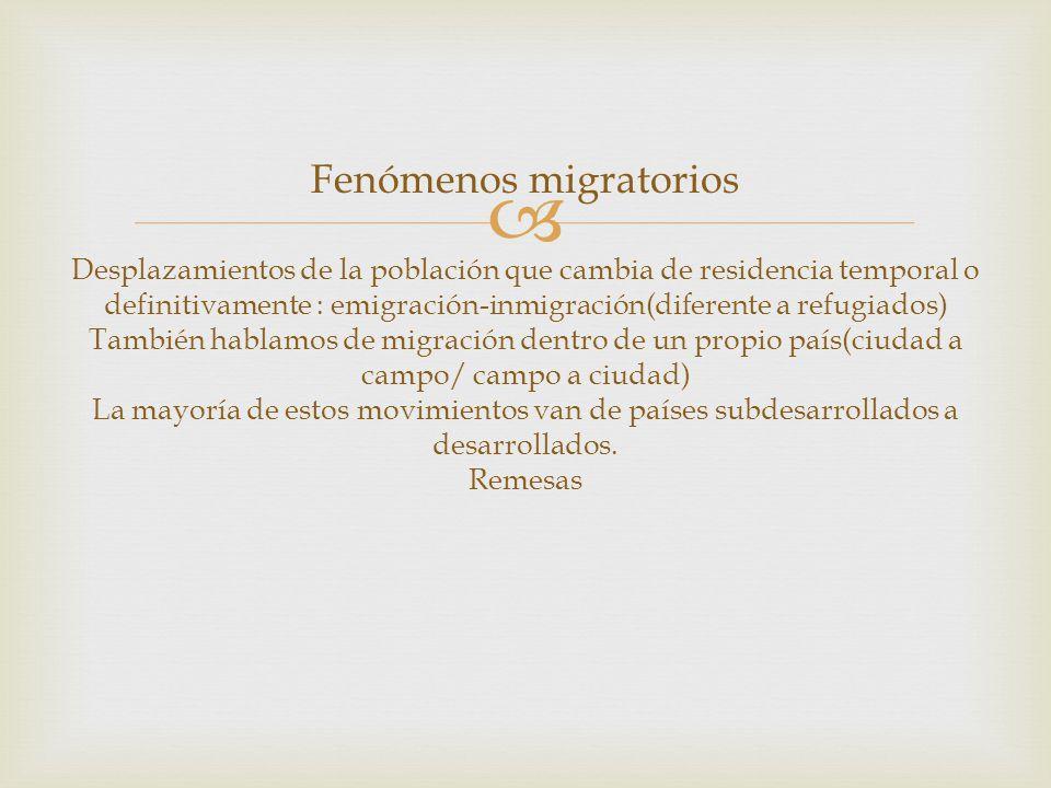 Fenómenos migratorios Desplazamientos de la población que cambia de residencia temporal o definitivamente : emigración-inmigración(diferente a refugia