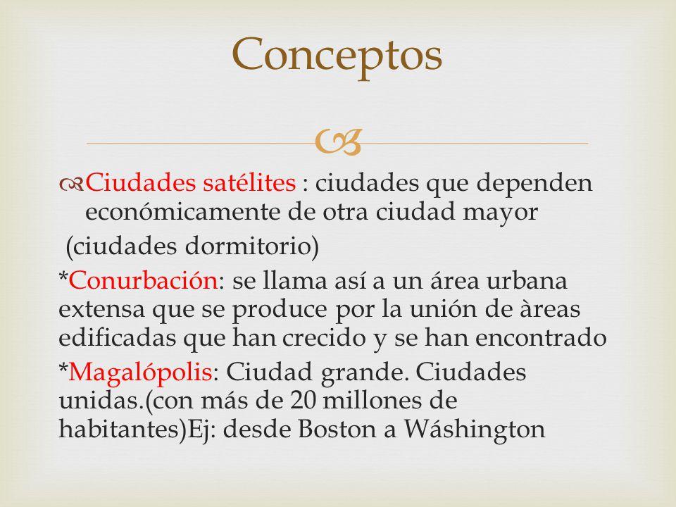 Ciudades satélites : ciudades que dependen económicamente de otra ciudad mayor (ciudades dormitorio) *Conurbación: se llama así a un área urbana exten