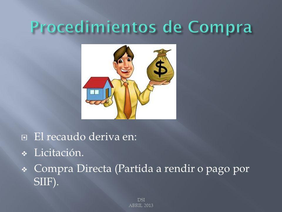 El recaudo deriva en: Licitación. Compra Directa (Partida a rendir o pago por SIIF). DSI ABRIL 2013