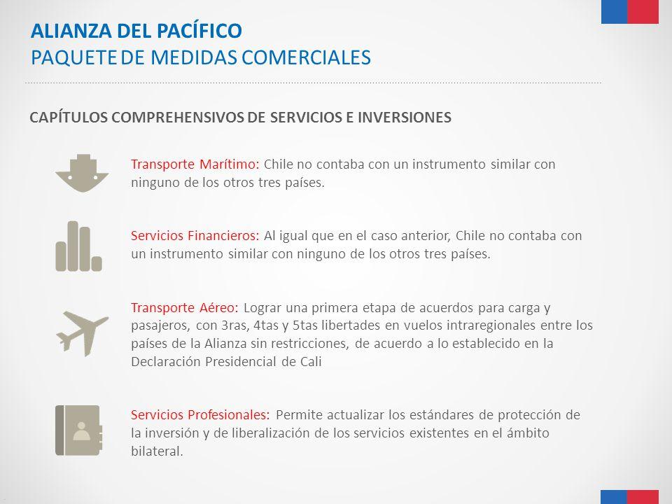 . CAPÍTULOS COMPREHENSIVOS DE SERVICIOS E INVERSIONES Transporte Marítimo: Chile no contaba con un instrumento similar con ninguno de los otros tres p