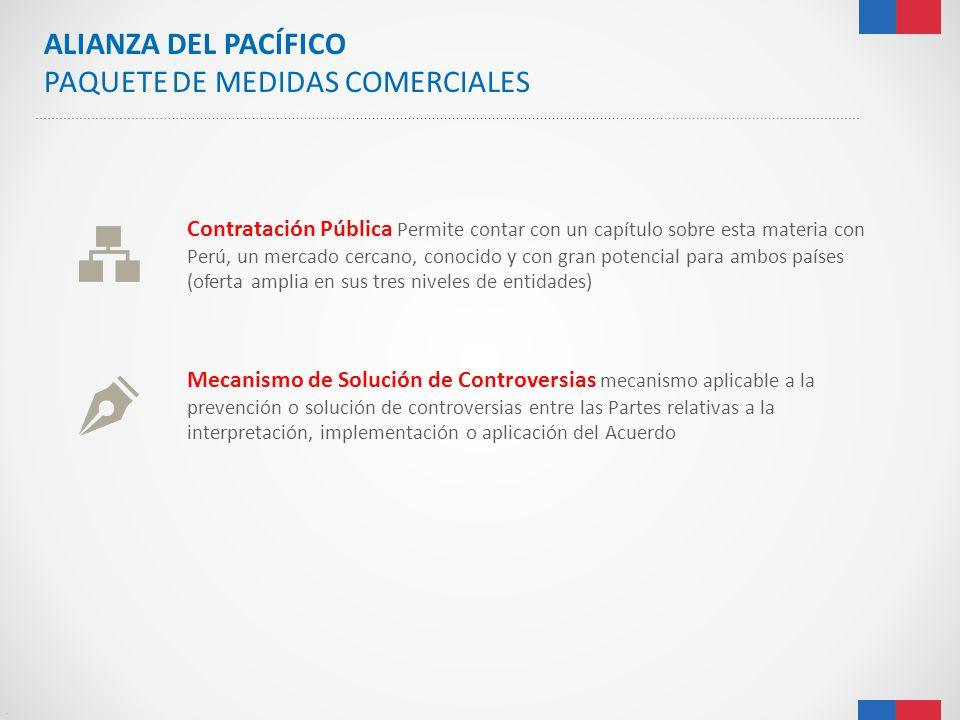 . ALIANZA DEL PACÍFICO PAQUETE DE MEDIDAS COMERCIALES Contratación Pública Permite contar con un capítulo sobre esta materia con Perú, un mercado cerc