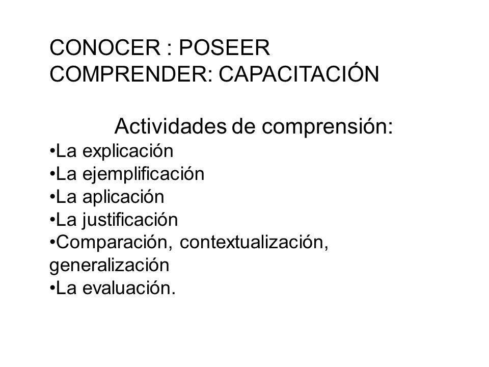 CONOCER : POSEER COMPRENDER: CAPACITACIÓN Actividades de comprensión: La explicación La ejemplificación La aplicación La justificación Comparación, contextualización, generalización La evaluación.