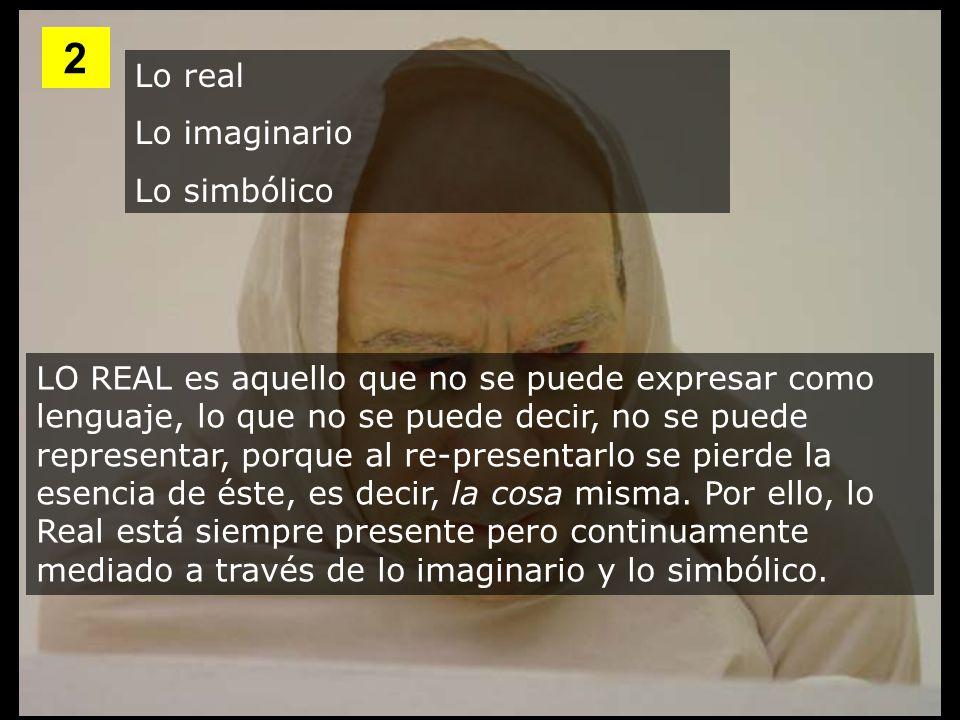 Lo real Lo imaginario Lo simbólico LO REAL es aquello que no se puede expresar como lenguaje, lo que no se puede decir, no se puede representar, porqu
