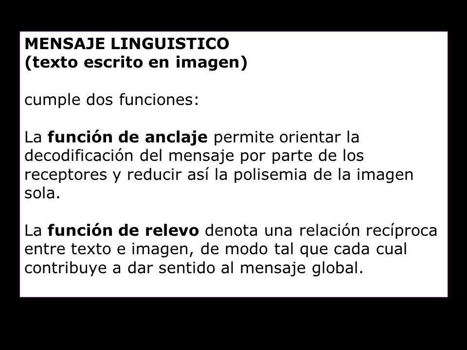 MENSAJE LINGUISTICO (texto escrito en imagen) cumple dos funciones: La función de anclaje permite orientar la decodificación del mensaje por parte de