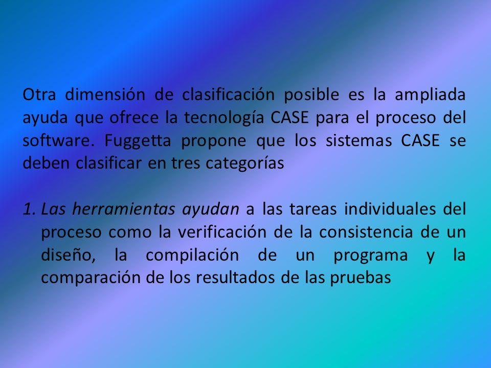 Otra dimensión de clasificación posible es la ampliada ayuda que ofrece la tecnología CASE para el proceso del software. Fuggetta propone que los sist