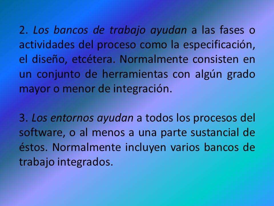 2. Los bancos de trabajo ayudan a las fases o actividades del proceso como la especificación, el diseño, etcétera. Normalmente consisten en un conjunt