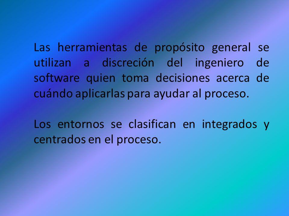 Las herramientas de propósito general se utilizan a discreción del ingeniero de software quien toma decisiones acerca de cuándo aplicarlas para ayudar al proceso.