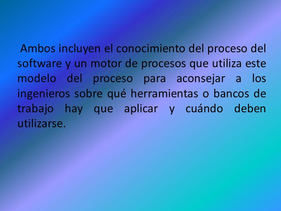 Ambos incluyen el conocimiento del proceso del software y un motor de procesos que utiliza este modelo del proceso para aconsejar a los ingenieros sob