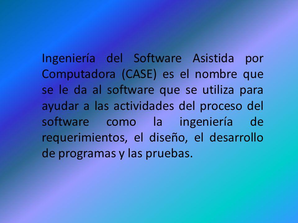 Ingeniería del Software Asistida por Computadora (CASE) es el nombre que se le da al software que se utiliza para ayudar a las actividades del proceso del software como la ingeniería de requerimientos, el diseño, el desarrollo de programas y las pruebas.