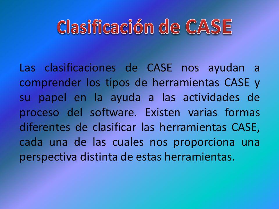 Las clasificaciones de CASE nos ayudan a comprender los tipos de herramientas CASE y su papel en la ayuda a las actividades de proceso del software. E