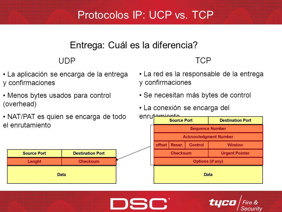 Protocolos IP: UCP vs. TCP Sin conexión: Cuál es la diferencia? UDP Paquetes de datos individuales No es afectado por ataques de Denegación de Servici