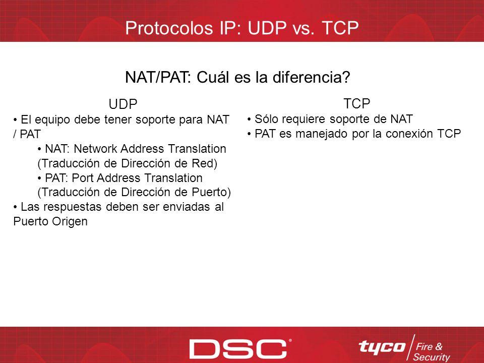 Protocolos IP: UDP vs. TCP Ancho de banda: Cuál es la diferencia? UDP Envío de paquete de datos Confirmación de paquete de datos TCP Paso 1 de Handsha
