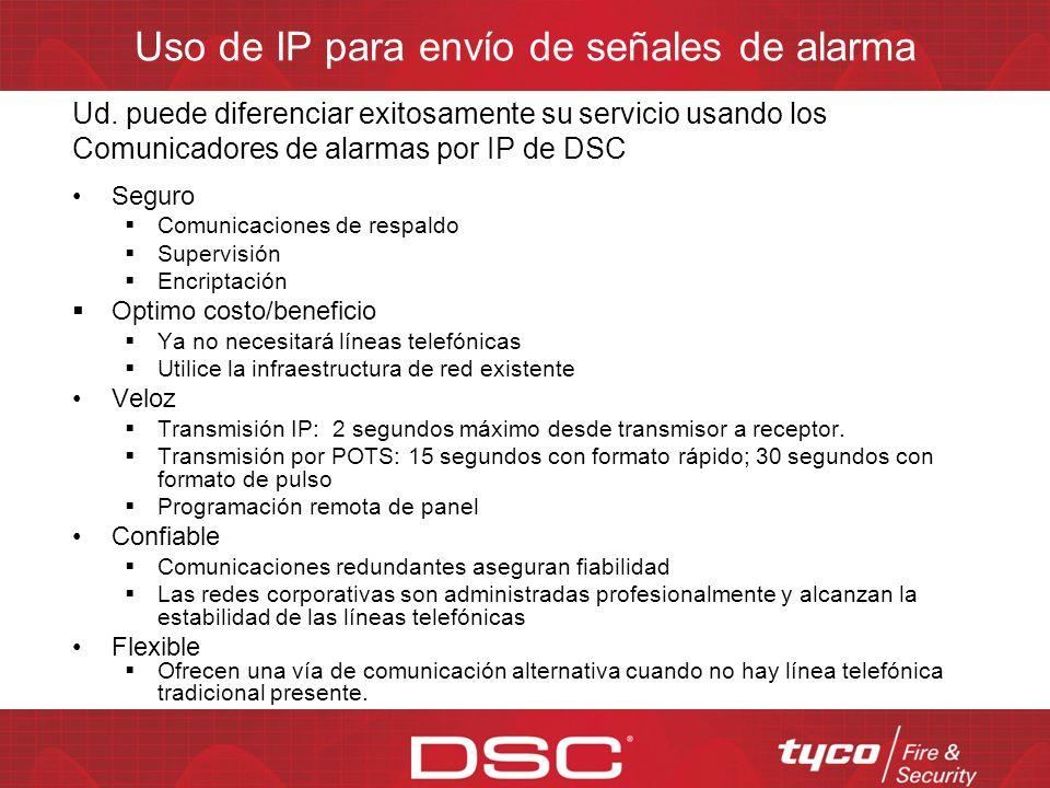Uso de TPBC para envío de señales de alarma Es el método tradicional para comunicación de alarmas Demora para el handshake Alto costo de las líneas te
