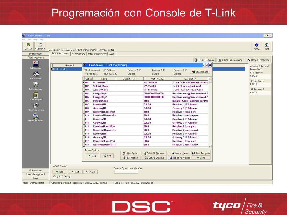 Opciones de programación del TL-250 Programación de teclado Programación remota vía red