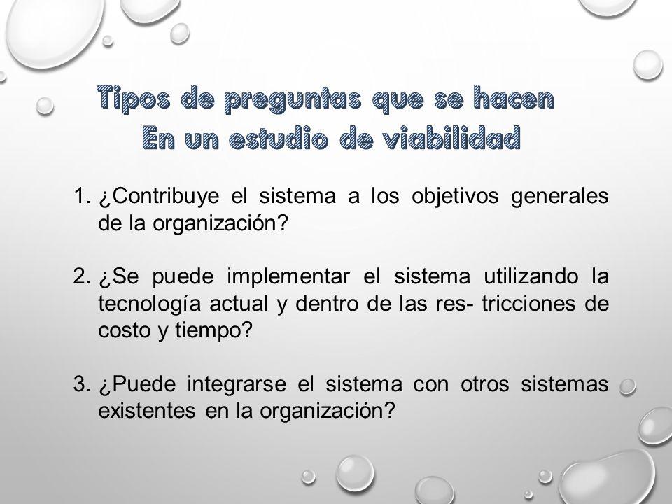 1.¿Contribuye el sistema a los objetivos generales de la organización? 2.¿Se puede implementar el sistema utilizando la tecnología actual y dentro de