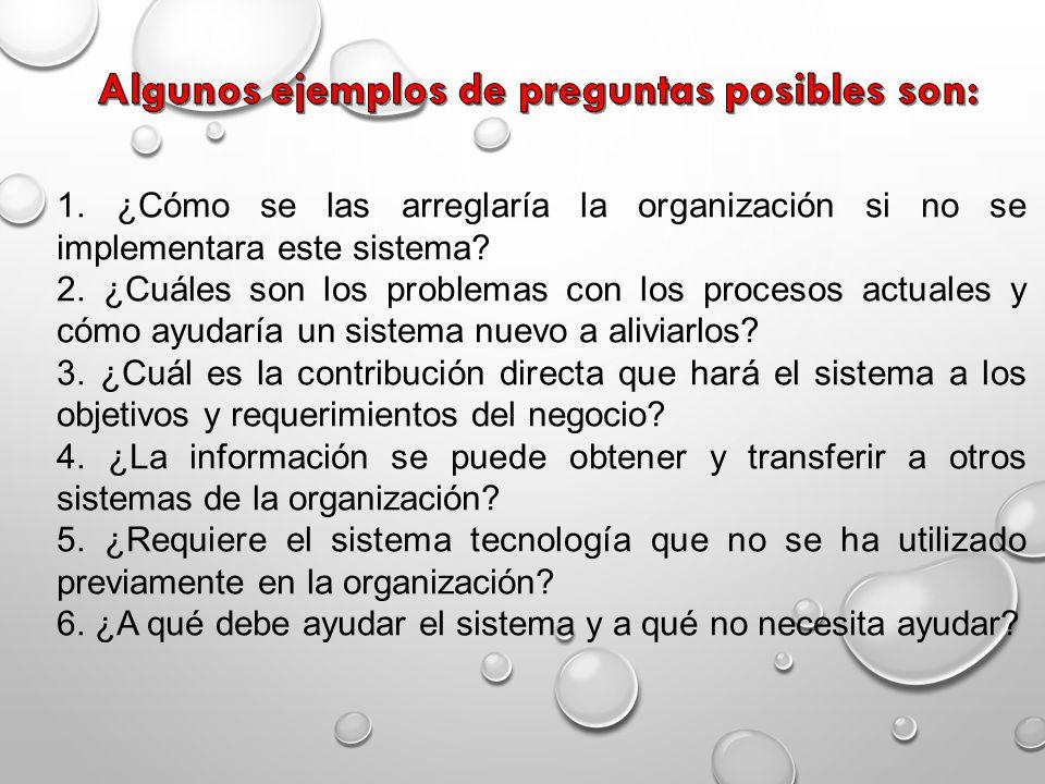 1. ¿Cómo se las arreglaría la organización si no se implementara este sistema? 2. ¿Cuáles son los problemas con los procesos actuales y cómo ayudaría