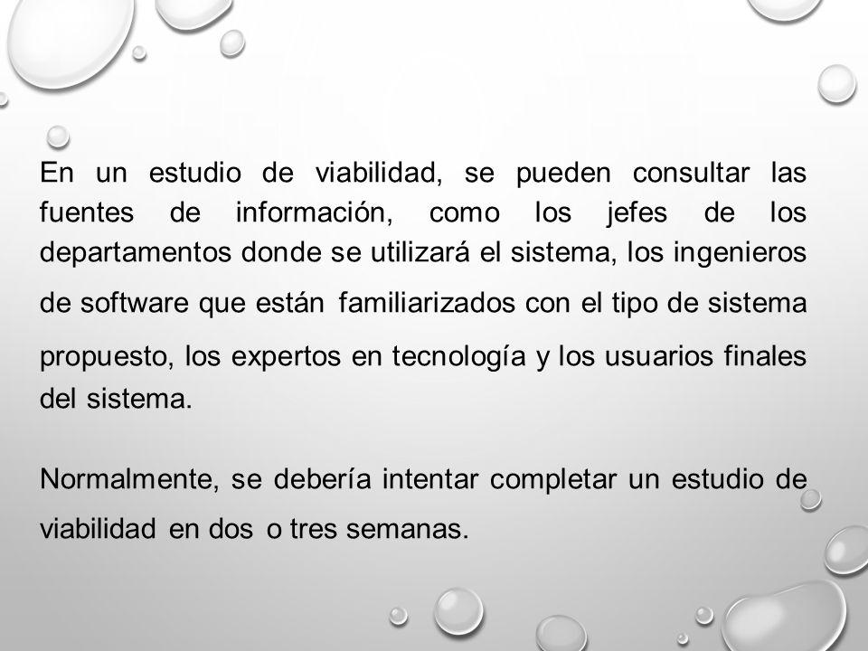 En un estudio de viabilidad, se pueden consultar las fuentes de información, como los jefes de los departamentos donde se utilizará el sistema, los in