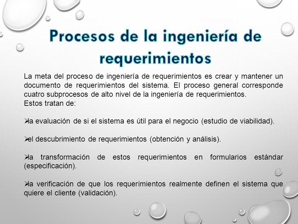 La meta del proceso de ingeniería de requerimientos es crear y mantener un documento de requerimientos del sistema. El proceso general corresponde cua