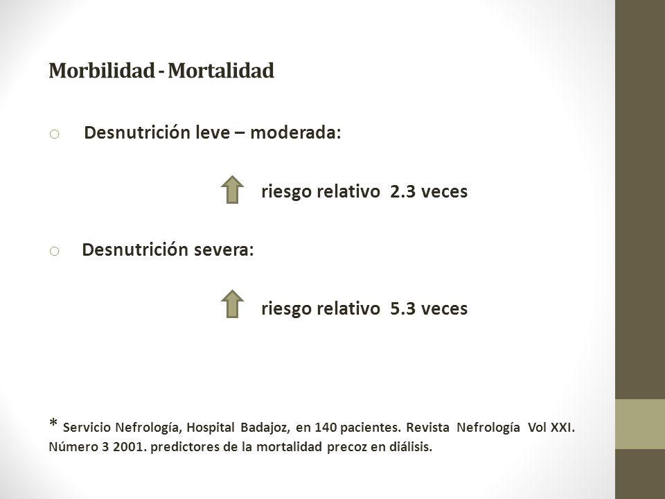 Morbilidad - Mortalidad o Desnutrición leve – moderada: riesgo relativo 2.3 veces o Desnutrición severa: riesgo relativo 5.3 veces * Servicio Nefrología, Hospital Badajoz, en 140 pacientes.