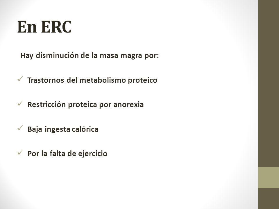 En ERC Hay disminución de la masa magra por: Trastornos del metabolismo proteico Restricción proteica por anorexia Baja ingesta calórica Por la falta de ejercicio
