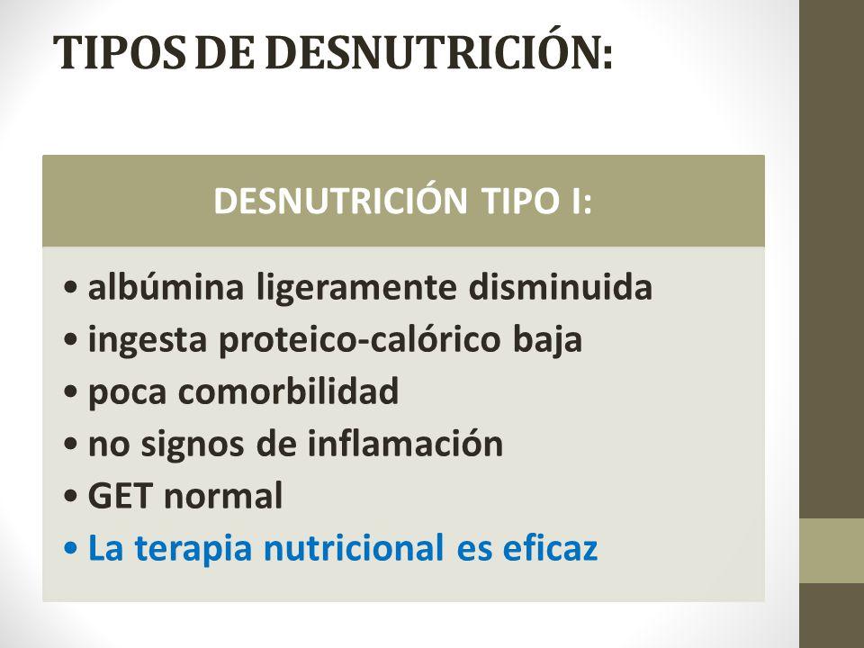 TIPOS DE DESNUTRICIÓN: DESNUTRICIÓN TIPO I: albúmina ligeramente disminuida ingesta proteico-calórico baja poca comorbilidad no signos de inflamación GET normal La terapia nutricional es eficaz