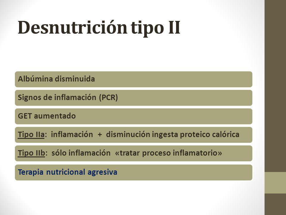 Desnutrición tipo II Albúmina disminuidaSignos de inflamación (PCR)GET aumentadoTipo IIa: inflamación + disminución ingesta proteico calóricaTipo IIb: sólo inflamación «tratar proceso inflamatorio»Terapia nutricional agresiva