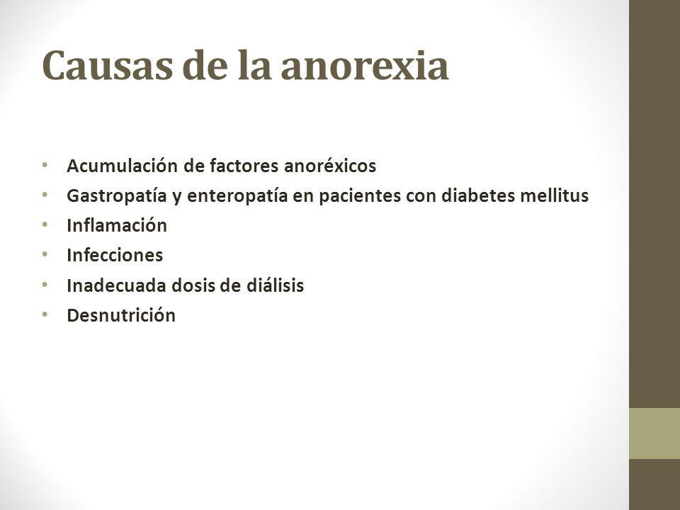 Causas de la anorexia Acumulación de factores anoréxicos Gastropatía y enteropatía en pacientes con diabetes mellitus Inflamación Infecciones Inadecuada dosis de diálisis Desnutrición