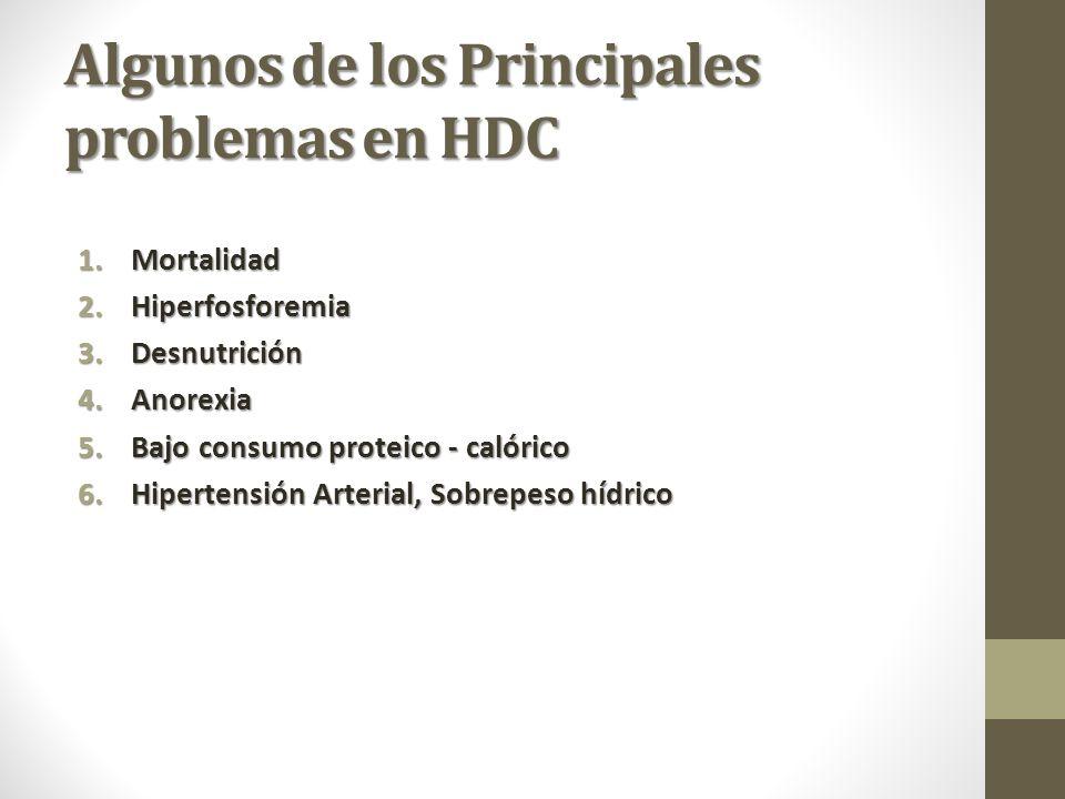 Algunos de los Principales problemas en HDC 1.Mortalidad 2.Hiperfosforemia 3.Desnutrición 4.Anorexia 5.Bajo consumo proteico - calórico 6.Hipertensión Arterial, Sobrepeso hídrico