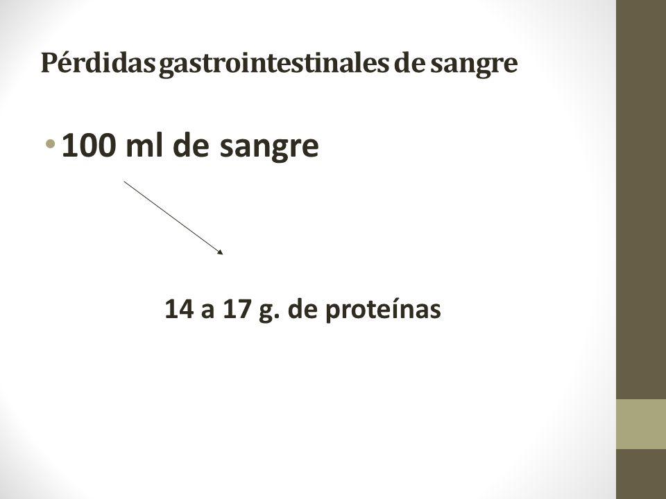 Pérdidas gastrointestinales de sangre 100 ml de sangre 14 a 17 g. de proteínas