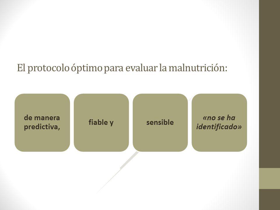 El protocolo óptimo para evaluar la malnutrición: de manera predictiva, fiable ysensible «no se ha identificado»
