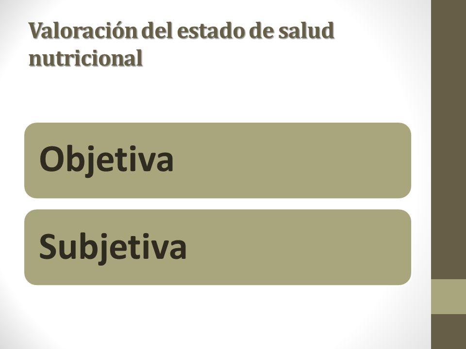 Valoración del estado de salud nutricional Objetiva Subjetiva
