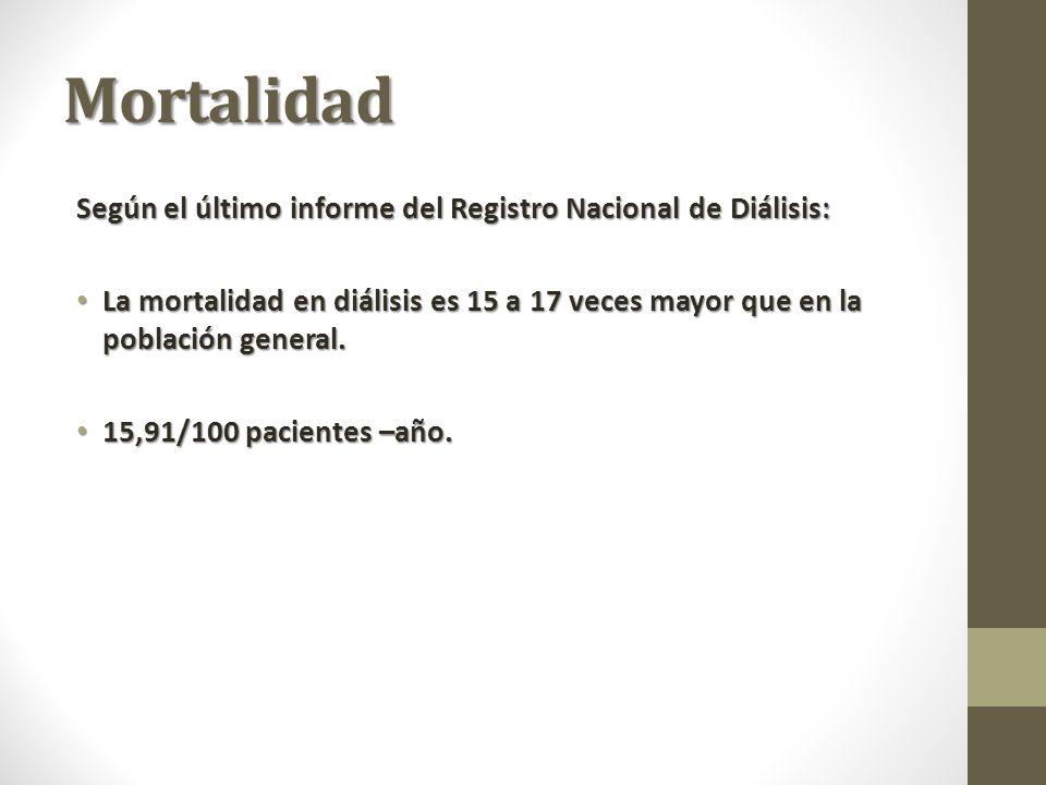 Mortalidad Según el último informe del Registro Nacional de Diálisis: La mortalidad en diálisis es 15 a 17 veces mayor que en la población general.