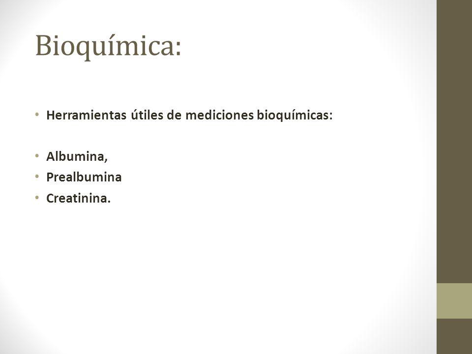 Bioquímica: Herramientas útiles de mediciones bioquímicas: Albumina, Prealbumina Creatinina.
